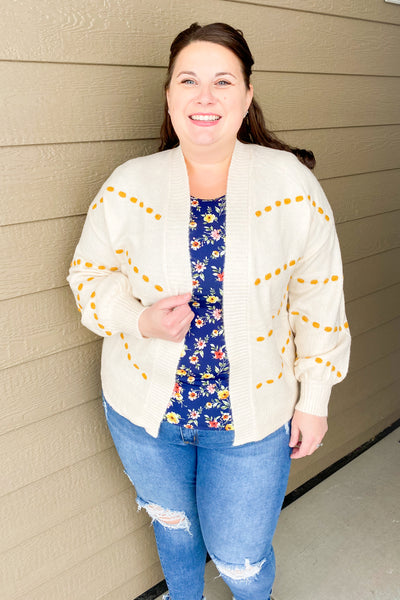 The Spot Balloon Sleeve Cardigan