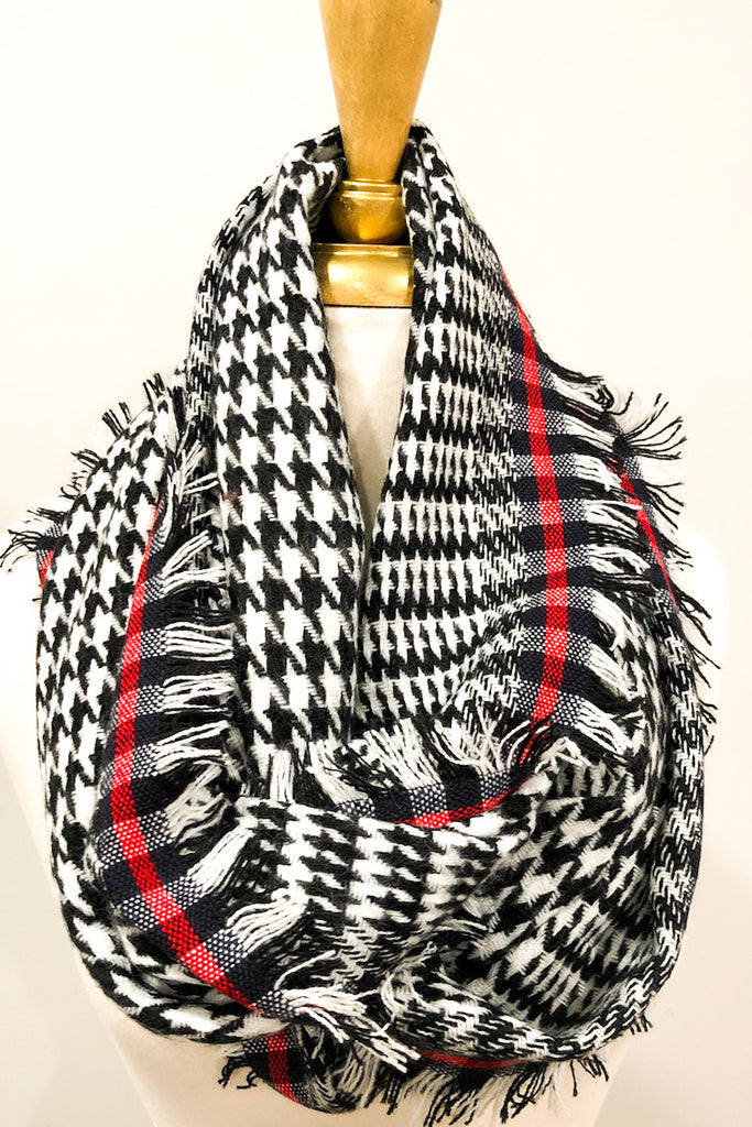 Houndstooth and Stripe Infinity Scarf - 3 Colors!