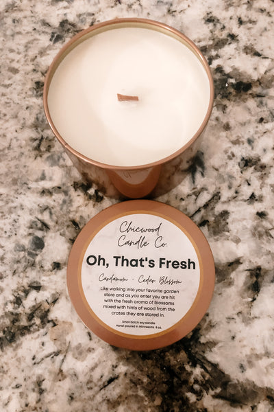 Oh That's Fresh 14 oz copper tin- Chicwood Candle Co