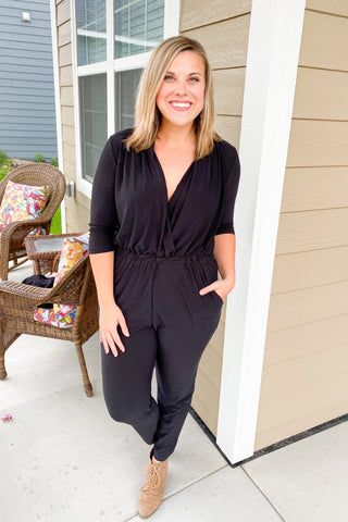 Kellie 3/4 Sleeve Jumpsuit - Chic Avenue Boutique