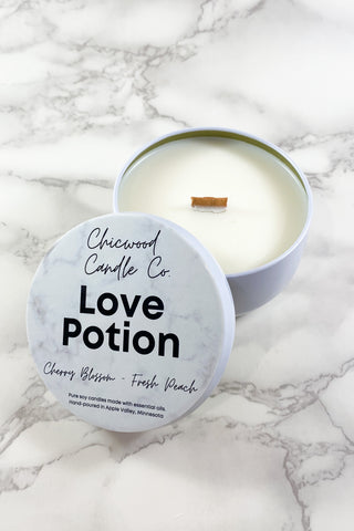 Chicwood Candle Co. Love Potion 8 oz. Candle Tin