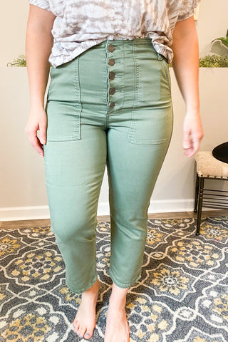 Olive Button Up Cropped Jean