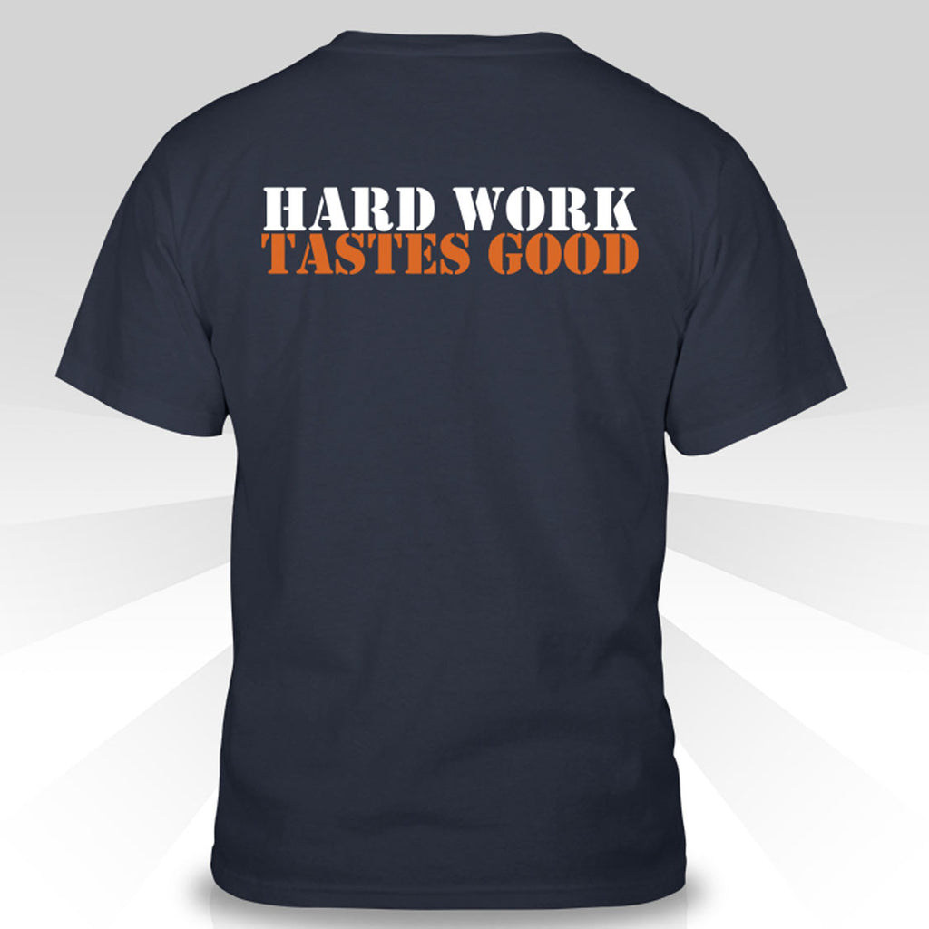 "Short Sleeve Mens T - Small Logo + ""Hard Work Tastes Good"" on Reverse"