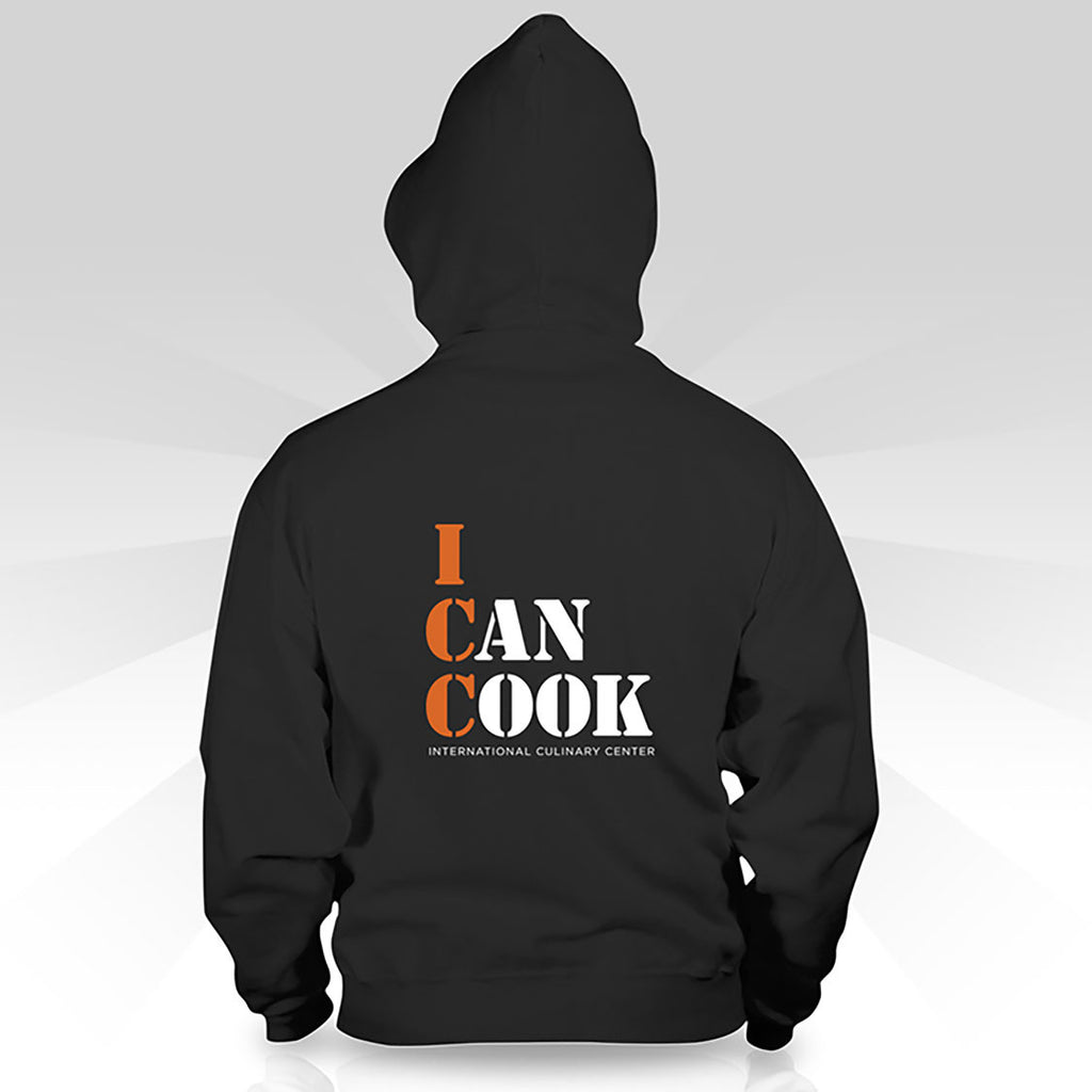 "Zippered Hoodie-Women's  Small Logo + ""I Can Cook"""