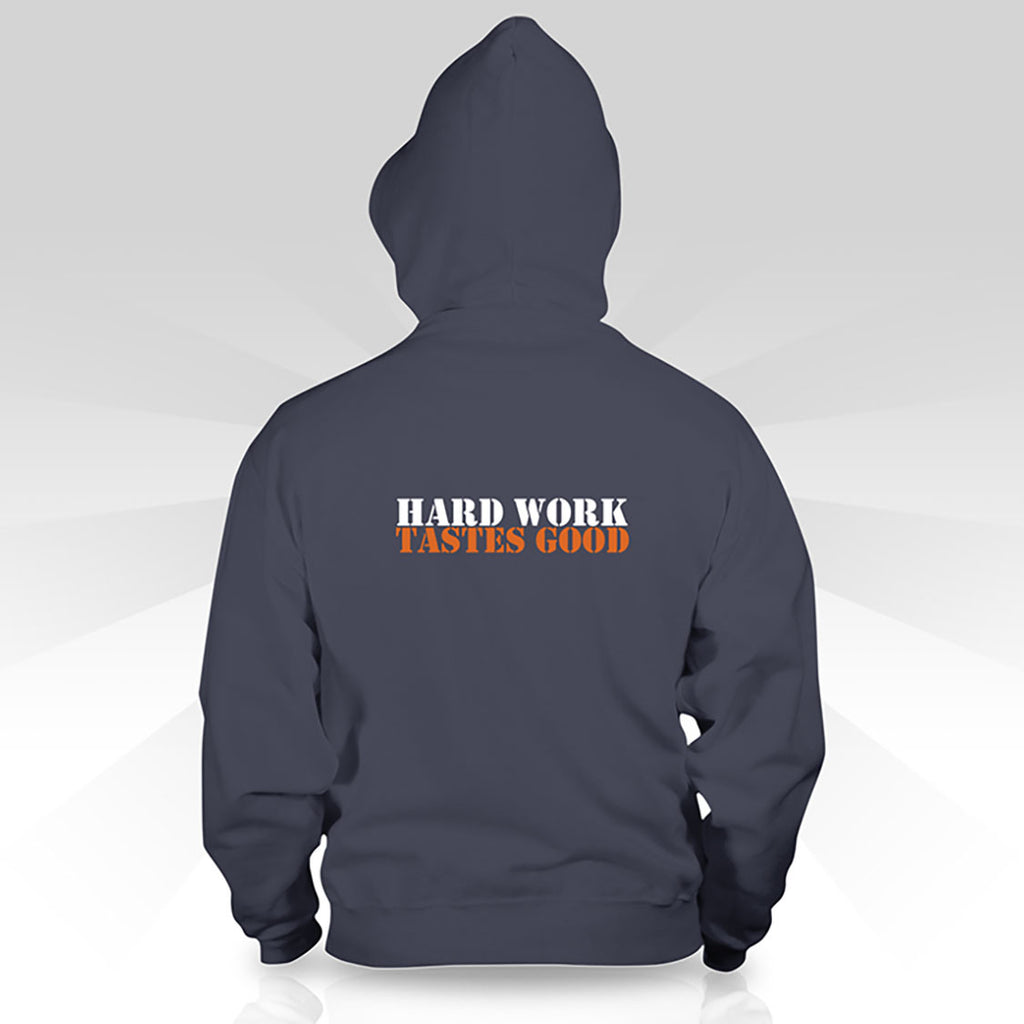 "Zippered Hoodie-Women's- Small Logo + ""Hard Work Tastes Good"" on Reverse"