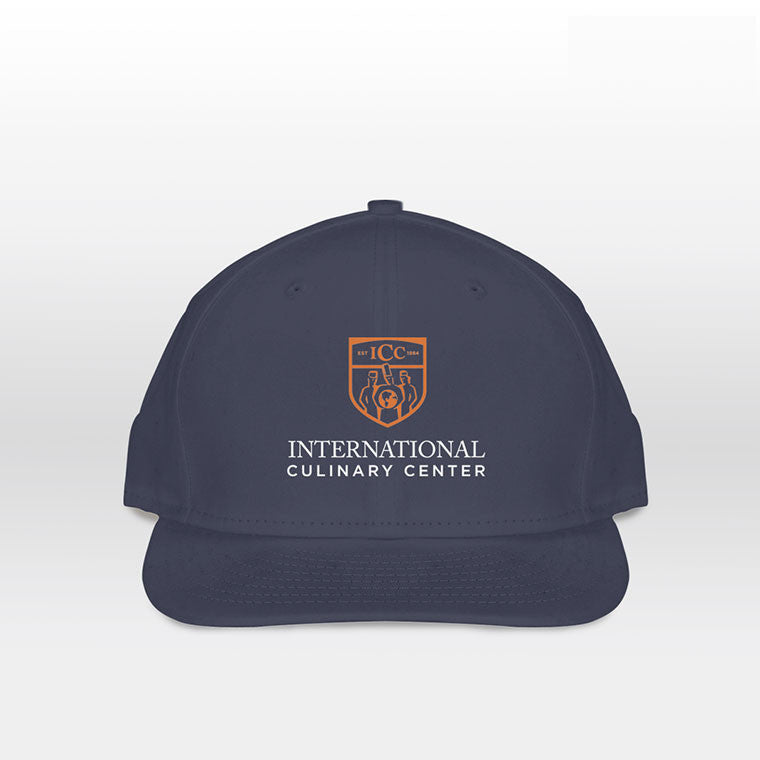 Embroidered ICC Logo on 5-Panel Hat in Navy Blue