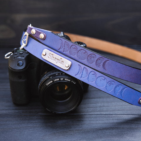 leather camera strap personalized custom name initials
