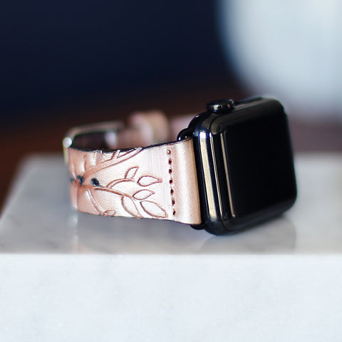 Leather Apple Watch Band, boho, pink, pearl, rose gold, tree branches, luxury feminine floral wathband, handmade, iwatch strap