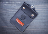 Leather ID holder, Pass cover, ID Badge case, personalized, for coins, cash, evil eye, plain
