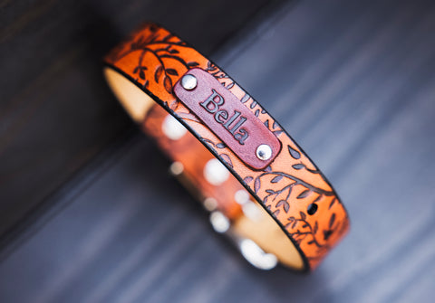 "Personalized Leather Dog Collar, 1"" Tree branches"