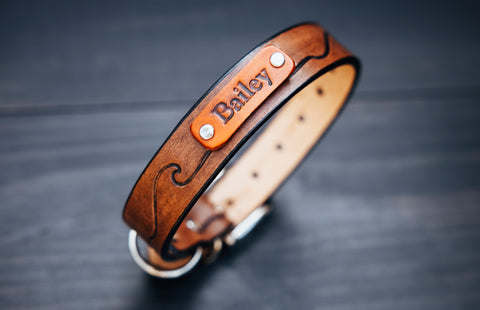 "Personalized Leather Dog Collar, 1"" Waves"