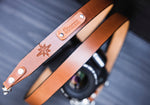 "Leather 1"" wide Camera Strap personalized, dslr camera, moon phases, star"
