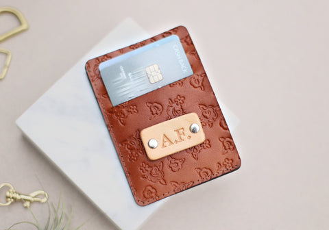 Handmade Leather Wallet, Personalized, Rose pattern