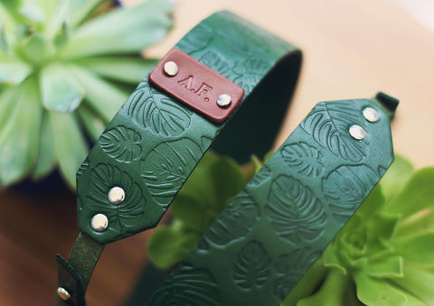 Camera Strap, Monstera leaves pattern