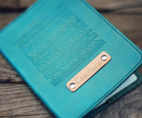 Custom Leather Passport Cover, Aztec