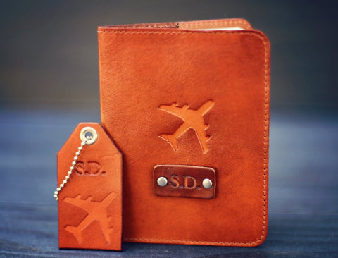 Leather Passport Cover and a Luggage Tag set, Airplane