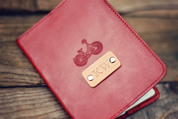 Custom Leather Passport Cover, Bike