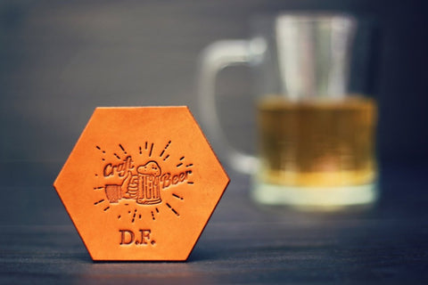 Personalized Leather Coaster, Hexagonal, Craft Beer