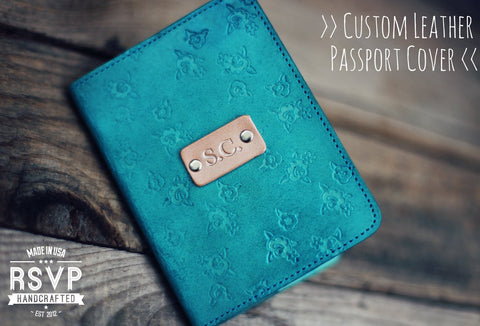 Leather Passport Cover, Roses Pattern