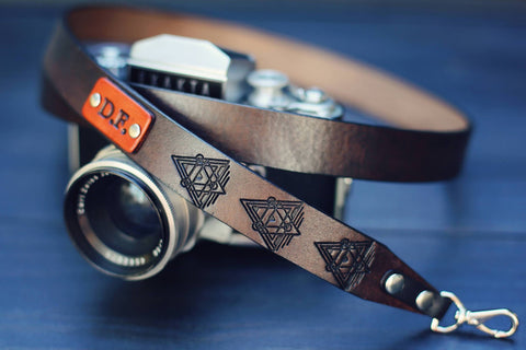 "Custom Leather Camera Strap 1"", Star Wars Triangles"