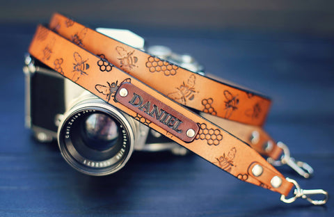 "Leather Camera Strap 1"" wide, Honeycomb pattern"