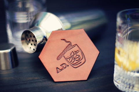 Personalized Leather Coaster, Hexagonal, Whisky and Cigar