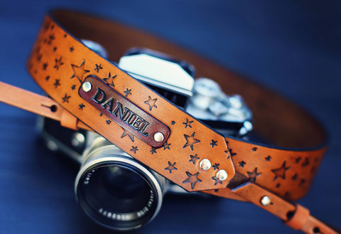 Leather Camera Strap, Star pattern
