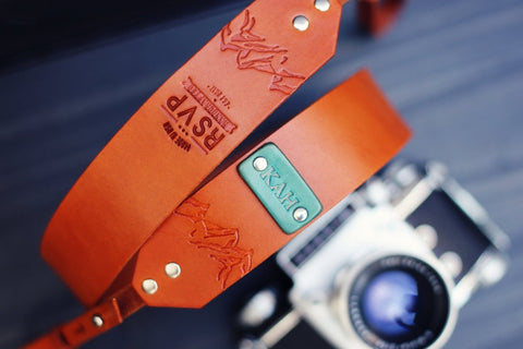 Custom Leather Camera Strap, Mountains