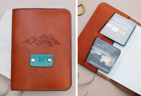 Custom Leather Passport Wallet, Mountains