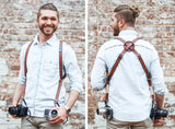 Custom Double Camera Harness, Mountains pattern