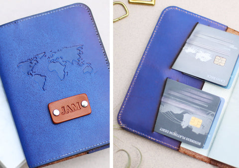Leather Passport Wallet, World map