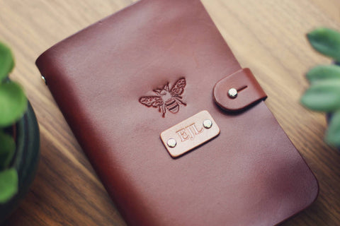 Custom Leather Journal, Honey Bee