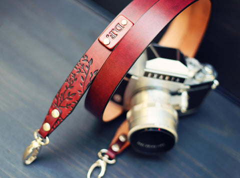 "Custom Leather Camera Strap 1"" wide Tree Branches"