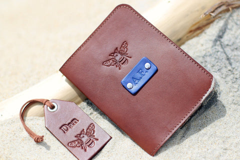 Leather Passport Wallet and a Luggage Tag set, Honey Bee