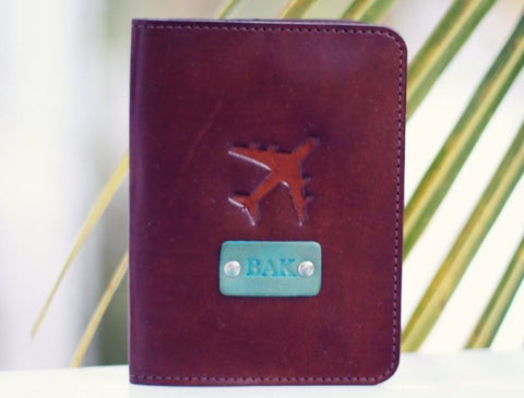 Custom Leather Passport Cover, Airplane