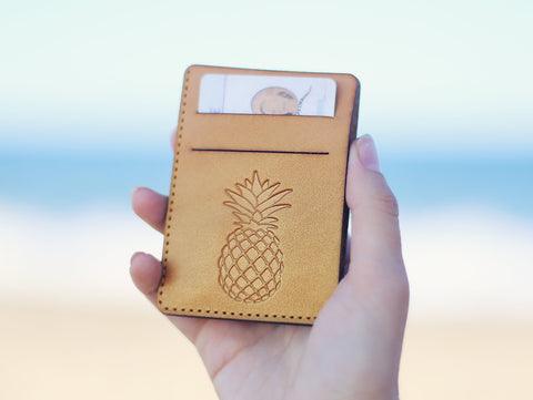 Handmade Leather Wallet, Personalized, Pineapple