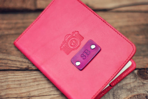 Custom Leather Passport Cover, Retro Camera