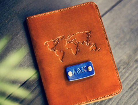 Leather Passport Cover, World map