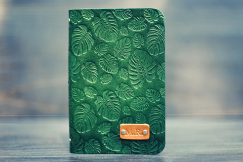 Custom Leather Journal, Monstera pattern