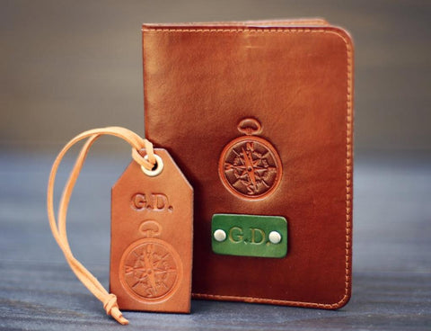 Leather Passport Cover and a Luggage Tag set, Compass