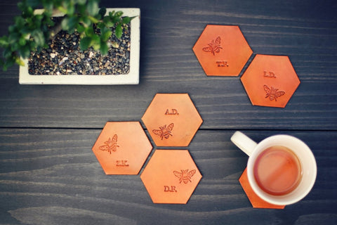 6 Personalized Leather Coaster Set, Hexagonal, Honey Bee