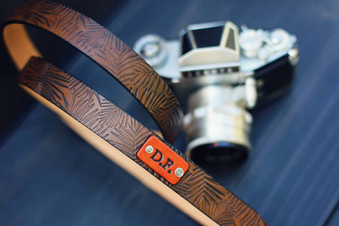"Custom Leather Camera Strap, 1"" wide, Palm Leaves"