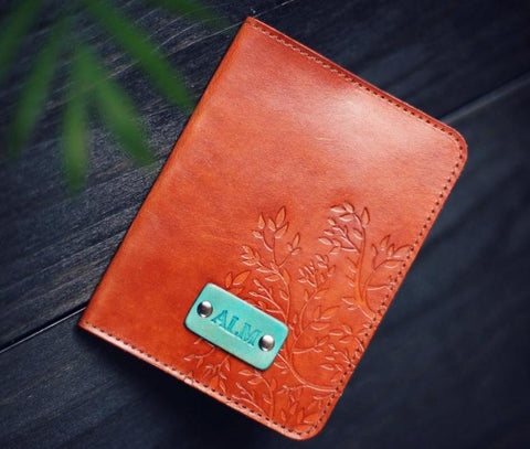 Leather Passport Cover, Tree Branches