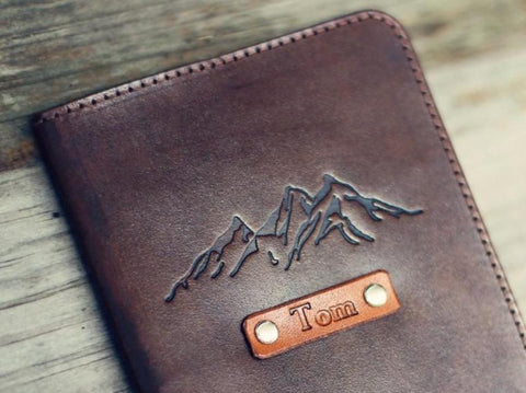 Custom Leather Passport Cover, Mountains