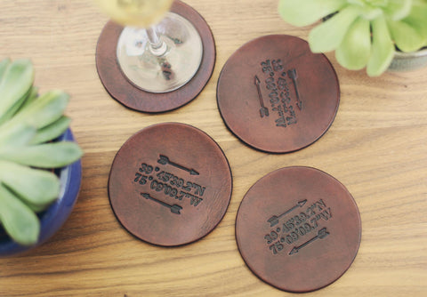 4 Personalized Leather Coaster Set, Arrow