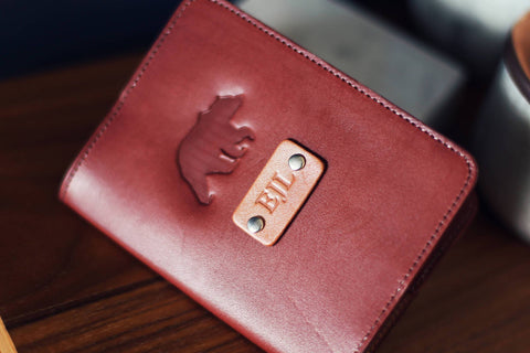 Custom Leather Passport Cover, Bear