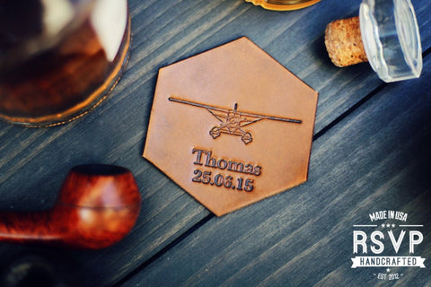 Personalized Leather Coaster, Hexagonal, Vintage plane