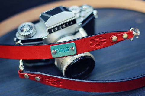 "Custom Leather Camera Strap, 1"" wide, Paws"