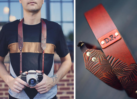 Custom Camera Strap, Palm Leaves, Antique