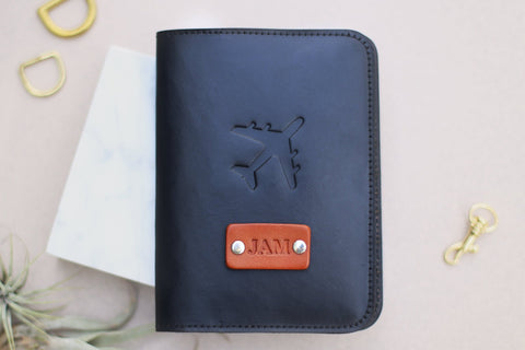Custom Leather Passport Wallet, Airplane
